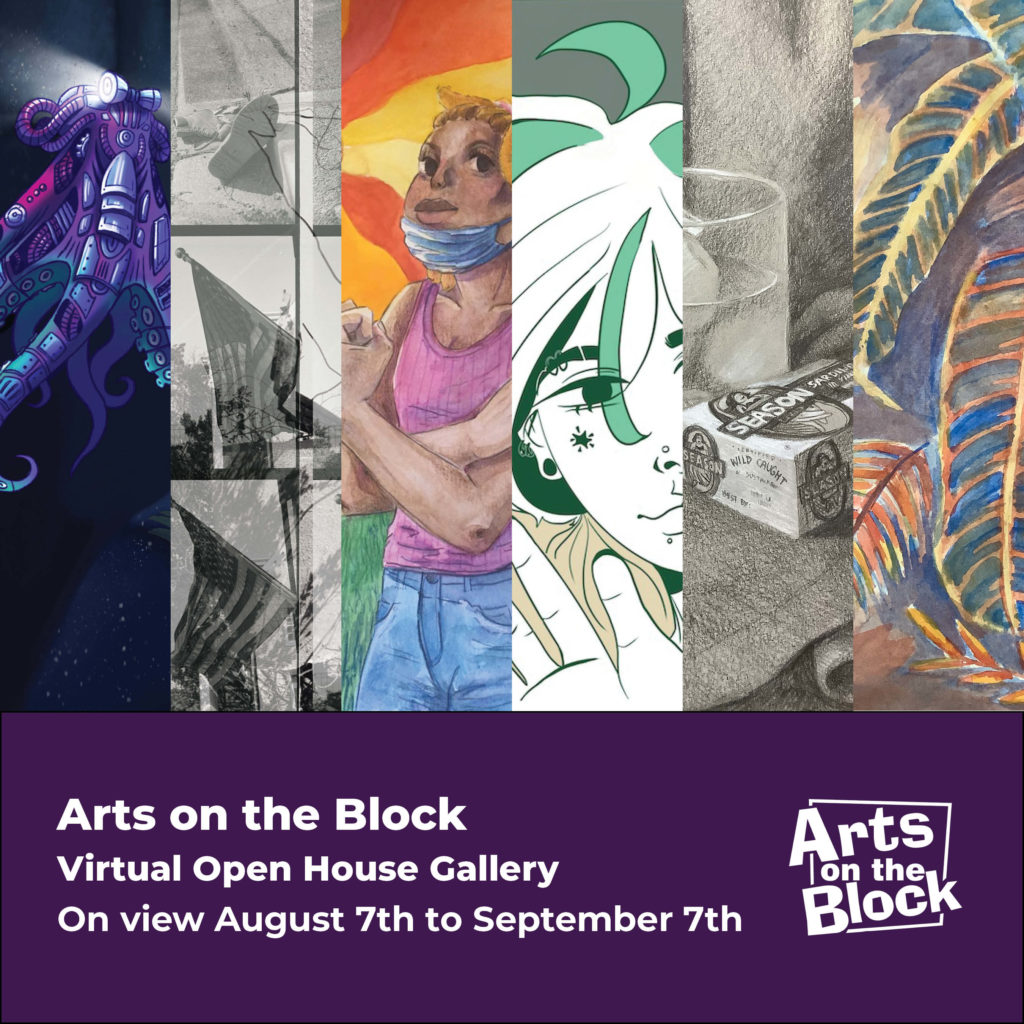 """white text on purple saying """"AOB Virtual Open House Gallery, on view August 7th to September 7th"""" below six slivers of various AOB art projects"""