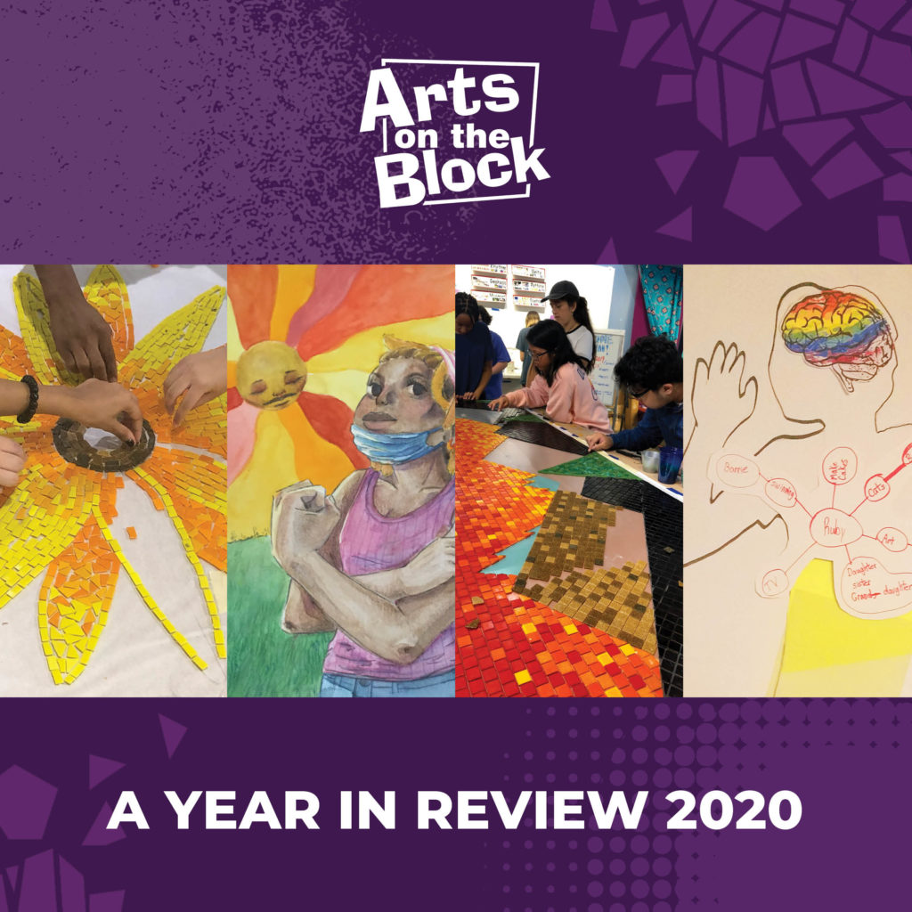 "AOB logo on a purple background with words ""A Year In Review 2020"" and four images of AOB art projects"